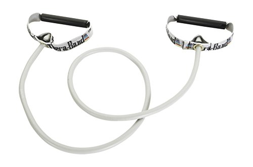 Tubes with Hard Handles, Professional Latex Elastic Tubing for Exercise, Physical Therapy, Pilates, At-Home Workouts, & Rehab, 50 in., Silver, Super Heavy, Advanced Level 2 ()