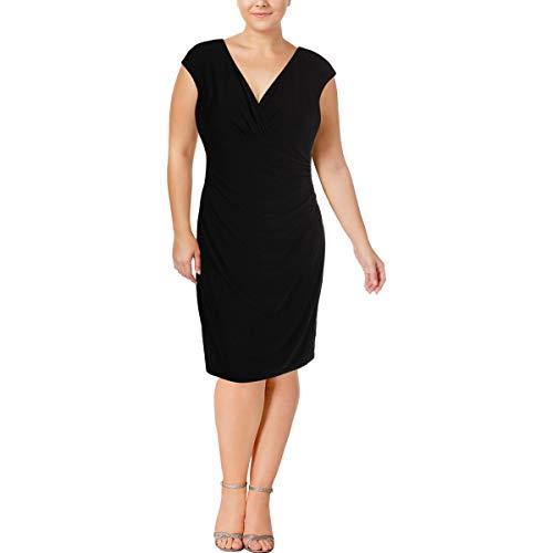 LAUREN RALPH LAUREN Womens Ruched Sleeveless Semi-Formal Dress Black 18
