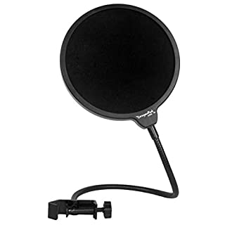 Dragonpad USA Microphone Pop Filter, for Blue Yeti, Blue Snowball - Flexible Gooseneck Microphone Mount and Double Layer Sound Shield Guard Windscreen