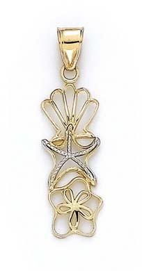 Coque métallique 14 Carats Pendentif étoile de mer Sanddollar JewelryWeb