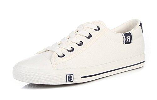 Aisun Damesmode Klassieke Ronde Neus Lace Up Lage Top Skateboard Platte Canvas Sneakers Schoenen Wit