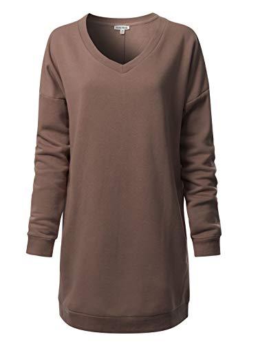 (Instar Mode Casual Loose Fit V-Neck Long Sleeves Over-Sized Tunic Sweatshirts,Ihow007 Mocha,Small/Medium)