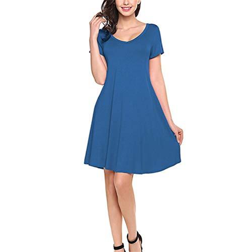 Steak Grill Elk - Eslove Stylish Women Dress Femme Summer Short Dresses Summer Round Neck Short Sleeve Dresses Blue XL