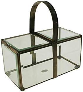 CAL FUSTER - Caja de Vidrio Biselado con perfilaría metálica y asa abatible. Medidas: 23x23x12 cm.: Amazon.es: Hogar