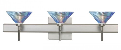 Besa Lighting 3SR-550493-SN Kona 3-Light Vanity Fixture, Dicro Swirl Art Glass Shade with Satin Nickel Finish