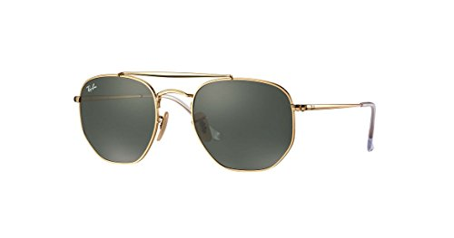 Ray-Ban Metal Unisex Square Sunglasses, Gold, 54 - Ray Clubmaster 54mm Ban