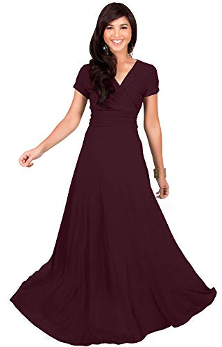 KOH KOH Womens Long Cap Short Sleeve V-Neck Flowy Cocktail Slimming Summer Sexy Casual Formal Sun Sundress Work Cute Gown Gowns Maxi Dress Dresses, Maroon Wine Red M (Maroon Wine)