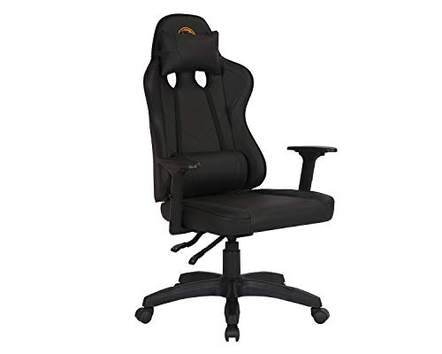 Kmax Gaming Chair Swivel Ergonomic Gamer Chair Height Adjustable Computer Chair with Backrest Headrest, Black