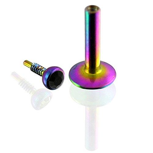 Bal avec 16Gauge(1.2MM) Rainbow anodisé chirurgicale Labret Tragus barres d'acier à filetage interne de Pierre en cristal noir