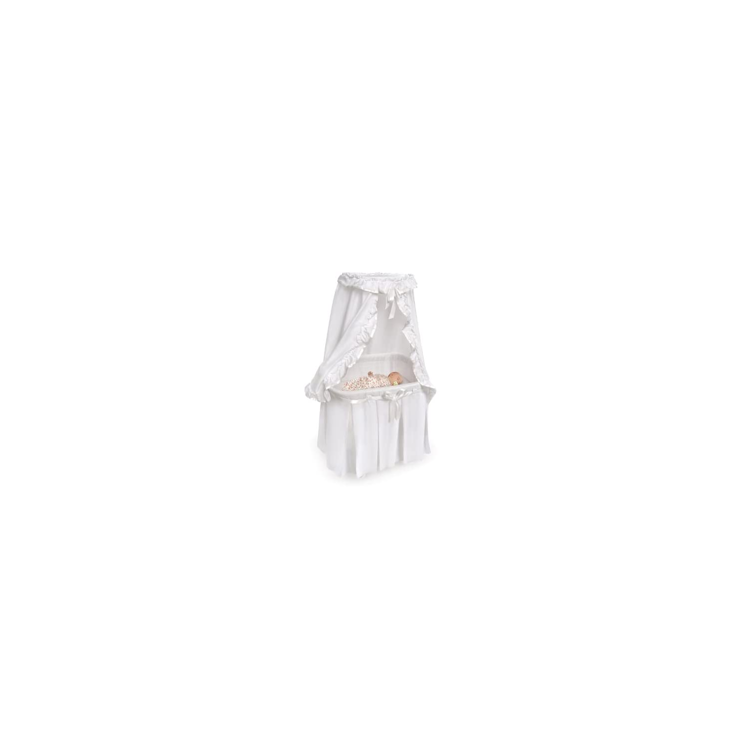 Badger Basket Majesty Baby Bassinet with Canopy, White