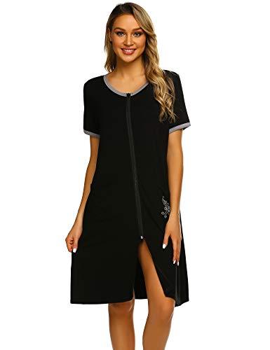 (Ekouaer Women's Short Robe Zipper Short Sleeve O-Neck Loungewear with Pockets Black)
