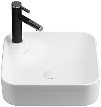 DS- バスルームの洗面台、正方形超薄型セラミック上記カウンタ流域バニティ単一流域(タップ無し)、42.5X42.5X13cm 洗面ボール && (Size : 42.5X42.5X13cm)