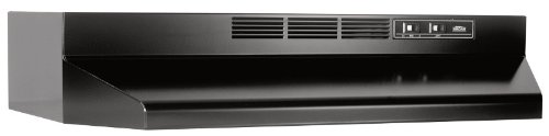 - Broan Stainless Steel Ductless Range Hood Insert with Light, Exhaust Fan for Under Cabinet, Black, 36