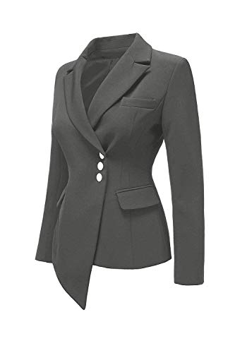Ragazza Offlce Fit Outerwear Autunno Donna Lunga Irregular Bavero Breasted Grey Manica Leisure Giacca Monocromo Tailleur Da Slim Suit Single THxtv