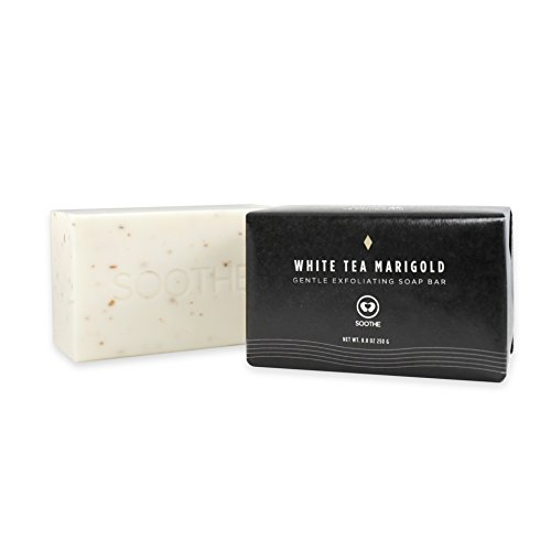 Soothe Vegan Body Soap - White Tea Marigold - Gentle Exfoliation - Enriched with Natural Shea & Cocoa butter - Extra Long-Lasting, Preservative-Free, Large 8.8 oz
