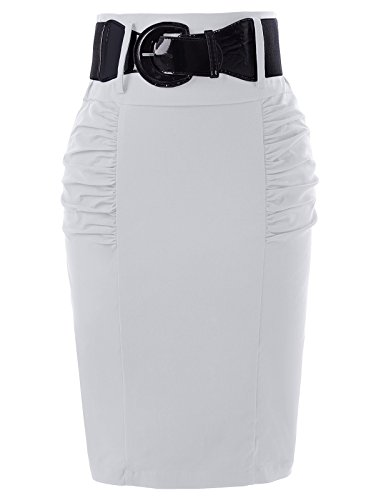 Belle Poque Plus Size Office Business Pencil Skirts Hips -Wrapped Cocktail Skirts White XL KK271-5 (Shirred Waist Pencil Skirt)