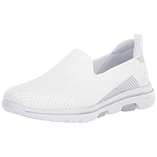 Skechers womens Walking Sneaker, White/Silver, 9.5 US
