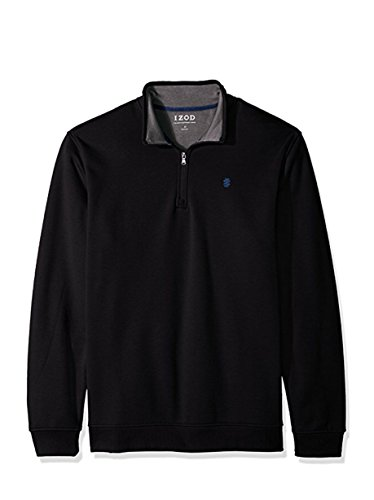 (IZOD Men's Big and Tall Advantage Performance 1/4 Zip Pullover Fleece, Black Heather, Large Tall)