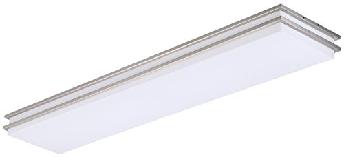 LB72137 LED Linear Flush Mount Ceiling Lighting, Antique Brushed Nickel, 48-Inch, 35W, 200W Equivalent, 4000K Cool White, 2800 Lumens, ETL & DLC Listed, ENERGY STAR, Dimmable
