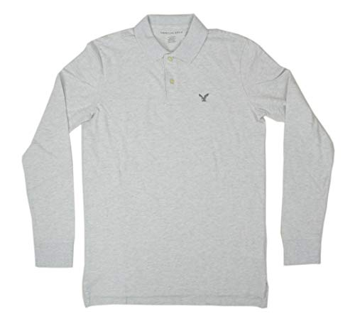 American Eagle Men's Long Sleeve Polo Shirt Classic Fit, Light Gray (L)