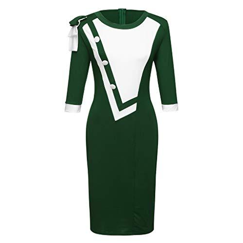 URIBAKE ♥️ Women 3/4 Sleeve Work Dress O-Neck Zipper Color Block Patchwork Business Bodycon Dress(S-5XL) Green
