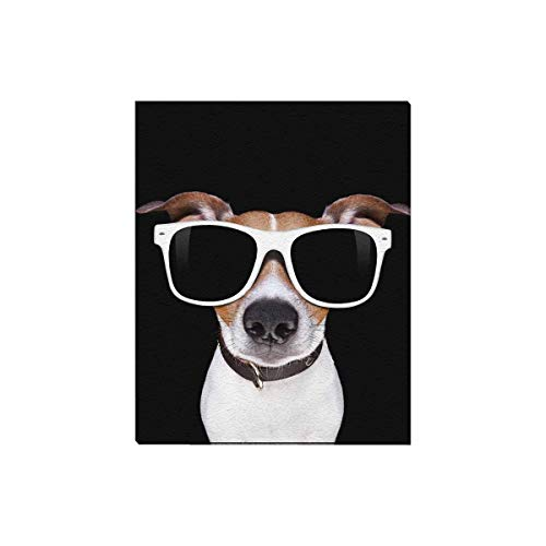 InterestPrint Funny Jack Russell Terrier Puppy Dog Canvas Prints Wall Art Wood Framed Abstract Artwork Pictures for Home Office Decoration, 16 x 20 Inches