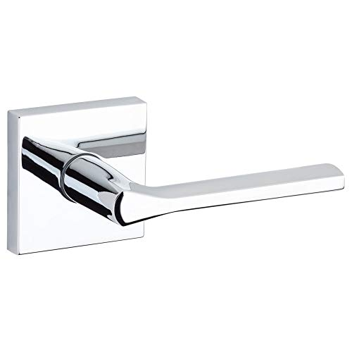 Kwikset 91540-024 Lisbon Door Handle Lever with Modern Contemporary Slim Square Design for Home Hallway or Closet Passage in Polished Chrome