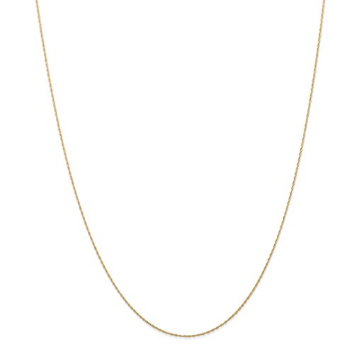 14k Yellow Gold .5 Mm Cable Link Rope Chain Necklace Carded 24 Inch Pendant Charm Fine Jewelry For Women Gift Set -