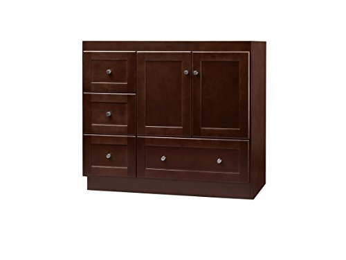(RONBOW Essentials Shaker 36 Inch Bathroom Vanity Cabinet Base in Dark Cherry Finish, with Soft Close Wood Doors on Right and Full Extension Drawers 081936-3R-H01)