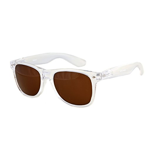 Shaderz Sunglasses Classic Clear Frame Retro 80's Brown - Kreed Sunglasses