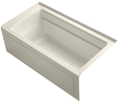 KOHLER K-1123-RA-47 Archer 5-Foot Bath with Comfort Depth Design, Integral Apron and Right-Hand Drain, Almond