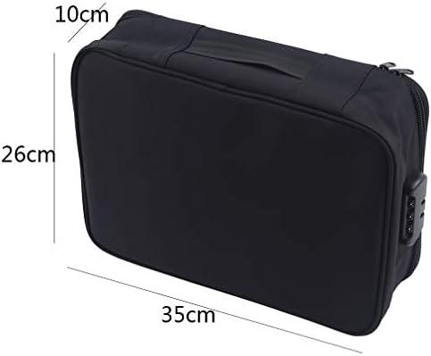 書類収納バッグ 手提げ コンビネーションロック 大容量 仕切り 貴重書類保管ケース パスポートファイル カード USB