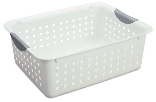 Sterilite Medium Ultra Basket Plastic Storage Bin Organizer - White (Pack of 12)