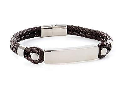 Bracelet homme cuir tressé EMOTIONAL pour gourmette homme personnalisable ,  Bracelet prénom personnalisé, idéal pour