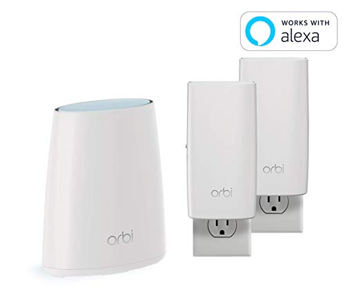 NETGEAR Orbi Wall-Plug Whole Home Mesh WiFi System - WiFi Router and 2 Wall-Plug Satellite Extenders with speeds up to 2.2 Gbps Over 5,000 sq. feet, AC2200 (RBK33)