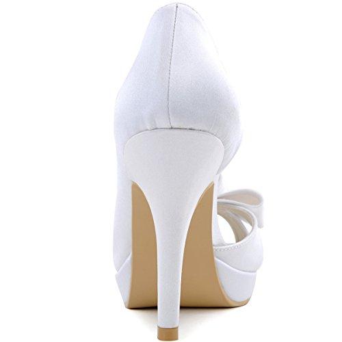 PF noeud bout mariee a Femme en Blanc ElegantPark Chaussures ouvert EP2049 enfiler Escarpins de satin mariage FHwXnn5Yq