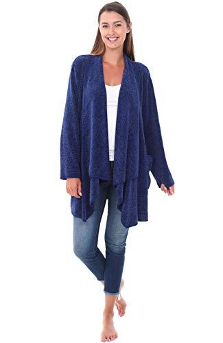 Alexander Del Rossa Womens Short Fleece Cardigan Sweater Lounge Robe, Small Medium Navy Blue (A0319NBLMD)