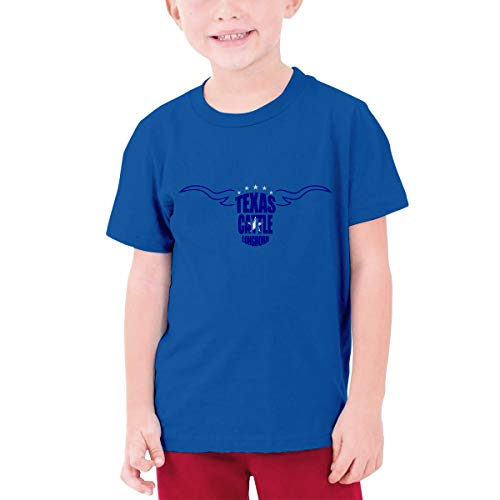 YUNLIHO Geek Custom Texas Cattle Longhorn Cowboys Football T Shirt Short Sleeve for Minor Blue XL