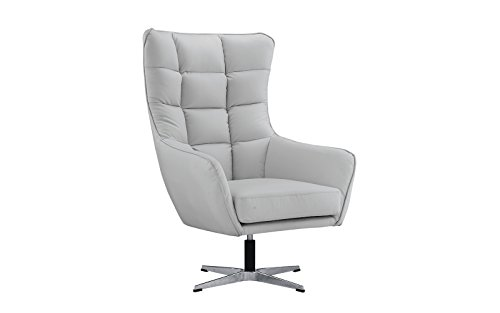 Modern Living Room Bonded Leather Tufted Armchair, Home Office Executive Swivel Chair (Light Grey) by Divano Roma Furniture