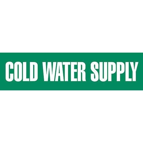 GHS Safety PM1063RH, Plastic Sheet + Pipe Marker''Cold Water Supply'', Pack of 8 pcs