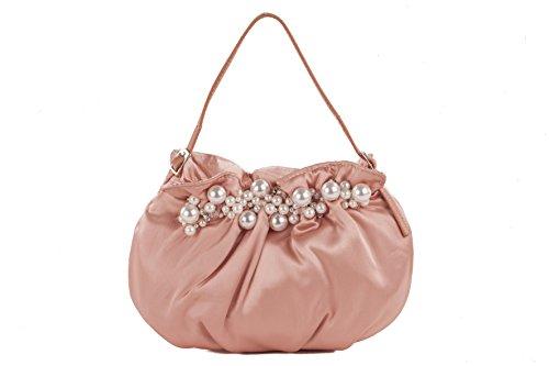 Pochette RM 03 Rosa, borsetta satin con decorazioni in perle