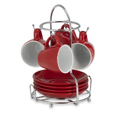 Imusa 8-Piece Espresso Set with Rack in Red by Imusa (Image #1)