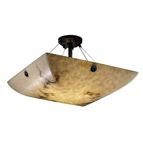Justice Design Group LumenAria 6-Light Semi-Flush - Matte Black Finish with Faux Alabaster Resin Shade