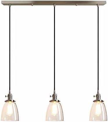 Pathson Industrial 3-Light Pendant Lighting Kitchen Island Hanging Lamps with Oval Clear Glass Shade Chandelier Ceiling Light Fixture Brushed Steel