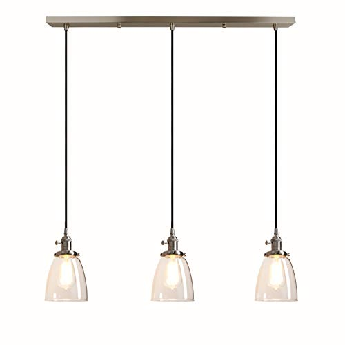 Pathson Industrial 3-Light Pendant Lighting Kitchen Island Hanging Lamps with Oval Clear Glass Shade Chandelier Ceiling Light Fixture (Brushed Steel) (Kitchen Pendant Lights Colored)