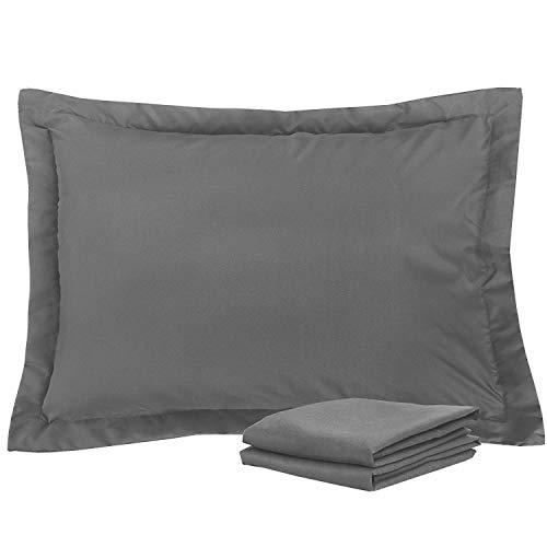 Standard Pillow Shams Set of 2 Dark Grey Premium 600 Thread Count Soft & Luxurious 100% Natural Cotton Dark Grey Pillow Shams Standard Size 20X26 Decorative Pillow Shams Set With 2 Inch Border