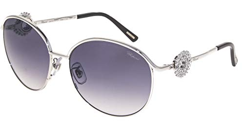 Chopard SCH B21S Women Round Sunglasses (Shiny Silver Frame, Smoke Gradient Lens 0550) ()