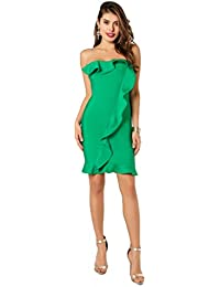 Womens Bandage Ruffles Elegant Party Cocktail Bodycon Dress