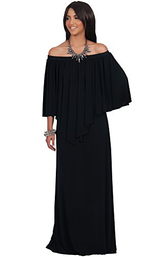 KOH KOH Womens Long Strapless Shoulderless Flattering Cocktail Gown Designer Evening Off Shoulder Sexy Special Occasion Vestido Maxi Dress, Color Black, Size Extra Large XL 14-16 (2)