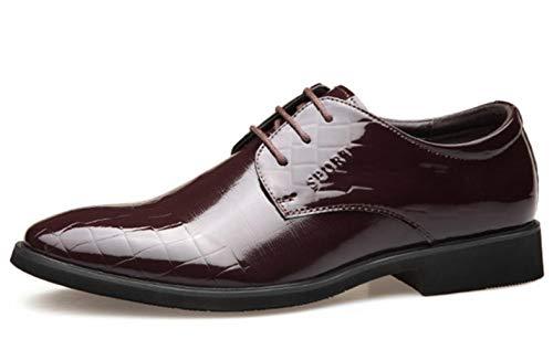 Cordones Casuales Boda De Zapatos 2018 Zapatos Vestir Zapatos De para con De De con Hombres Brown Negocios Charol Shiney Cordones f16a7qRxww